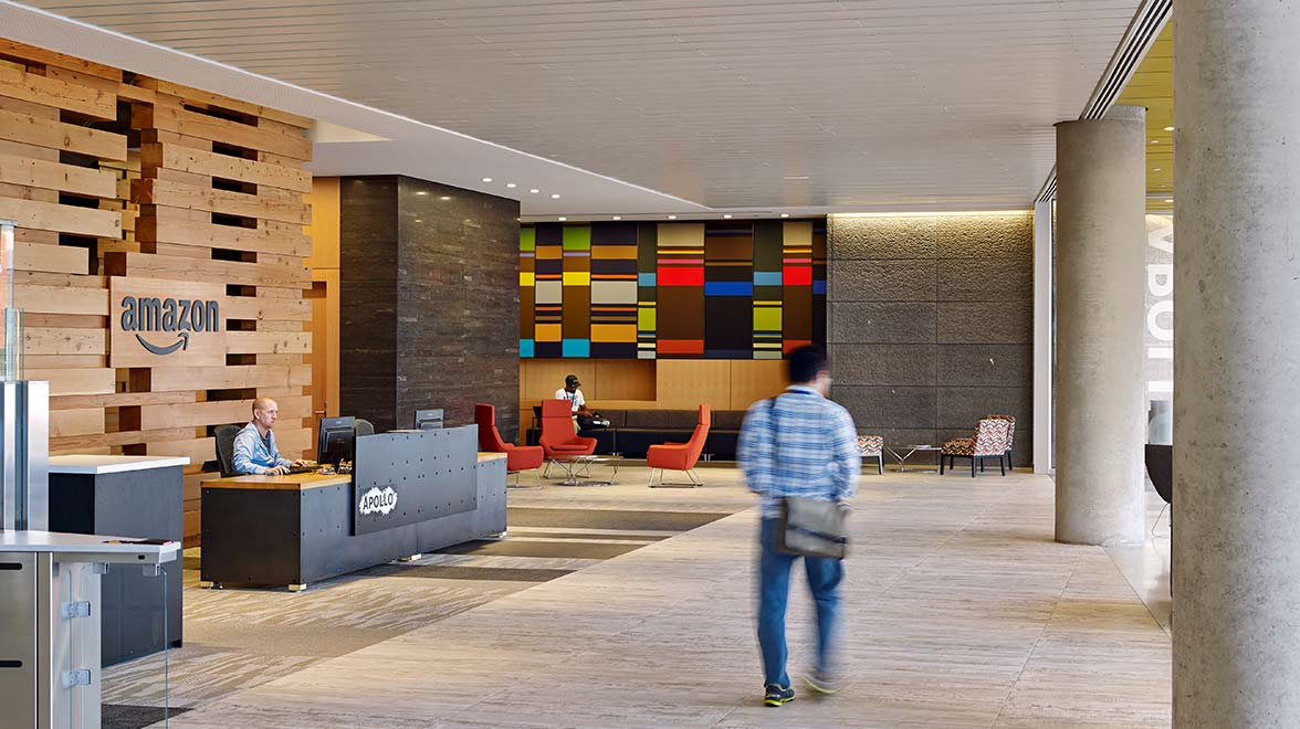 Colorful lobby at Amazon Phase VI in Seattle